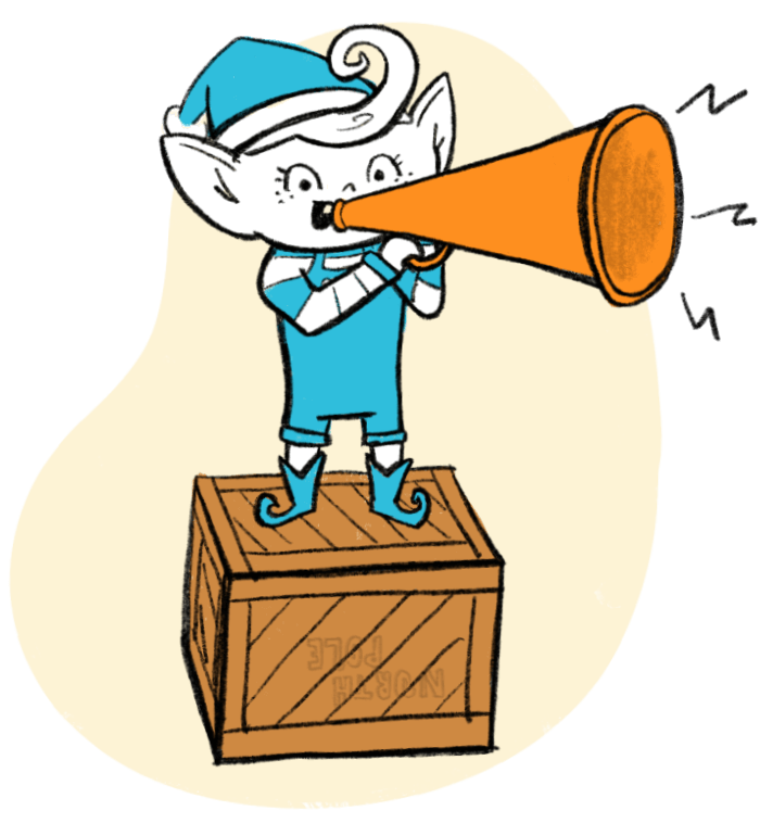 Elf with a bullhorn