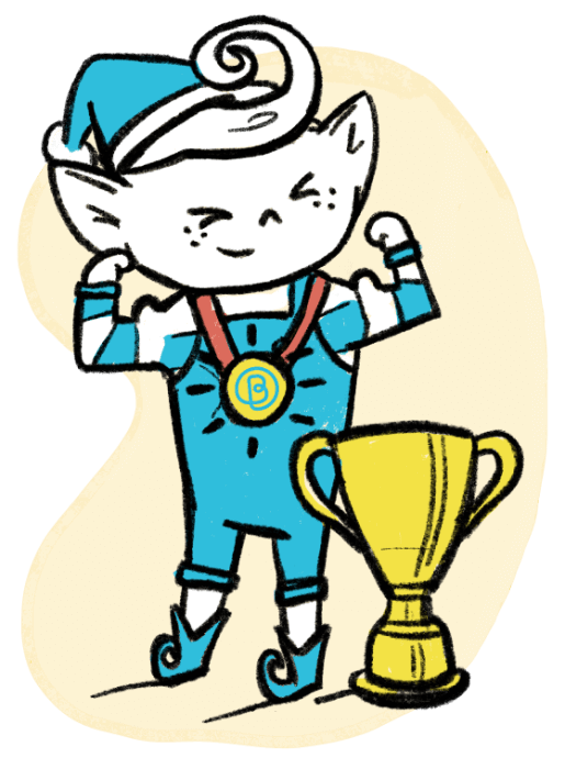 Elf with a trophy