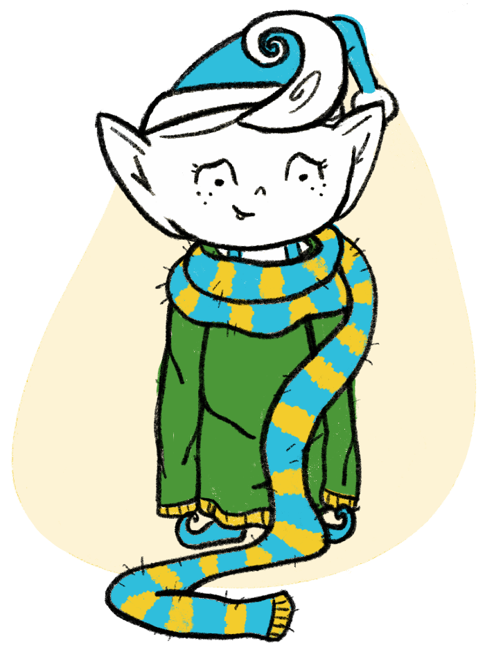 Elf in a huge sweater and scarf