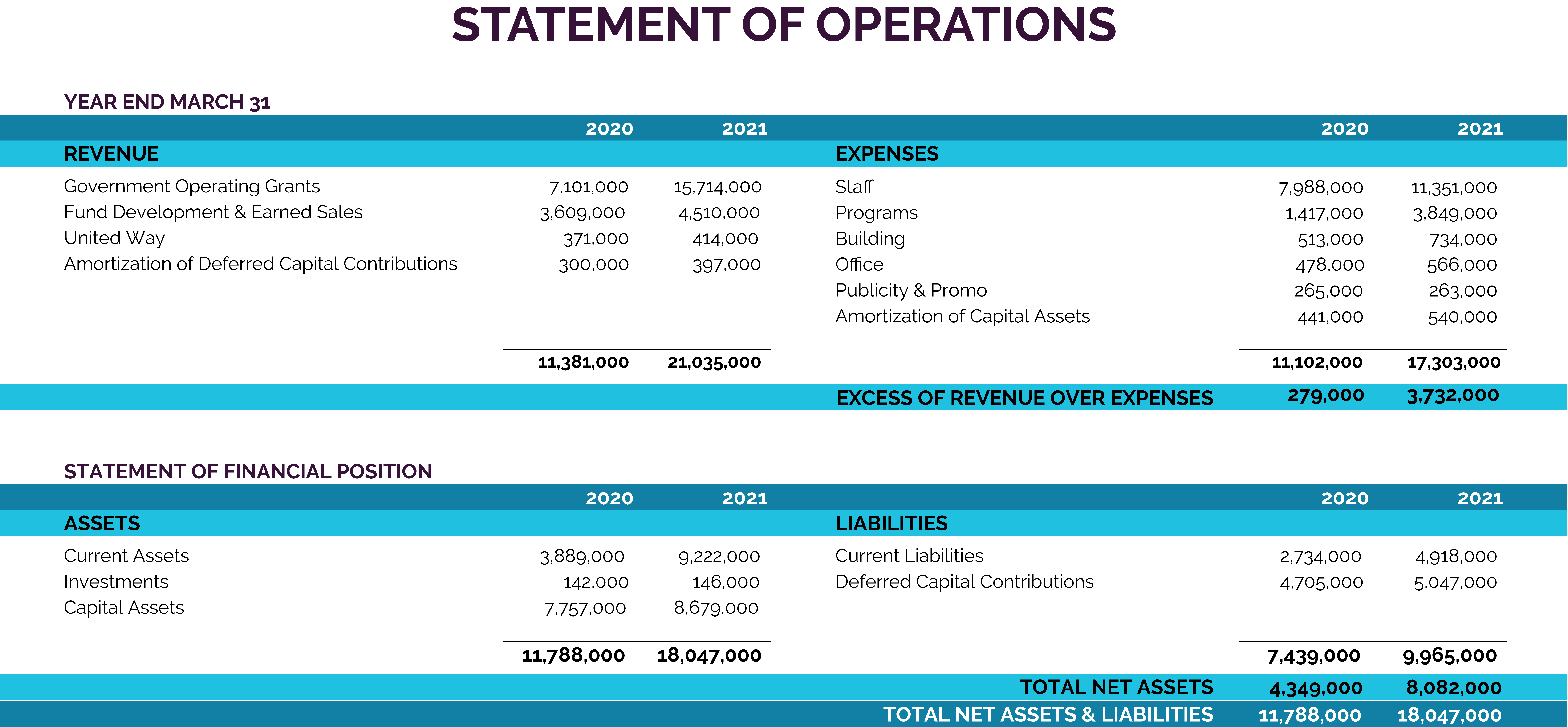 Statement of Operations - Revenue and Expenses Table